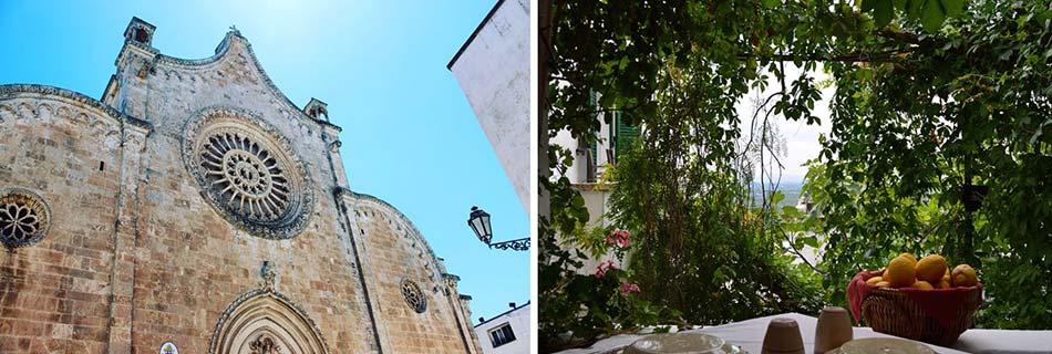 Davanti alla facciata di una chiesa come in un patio nascosto nella città bianca.