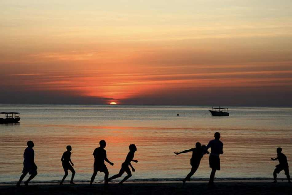 Osservare le loro silhouettes spensierate stagliarsi sui colori arancioni e viola di un tramonto