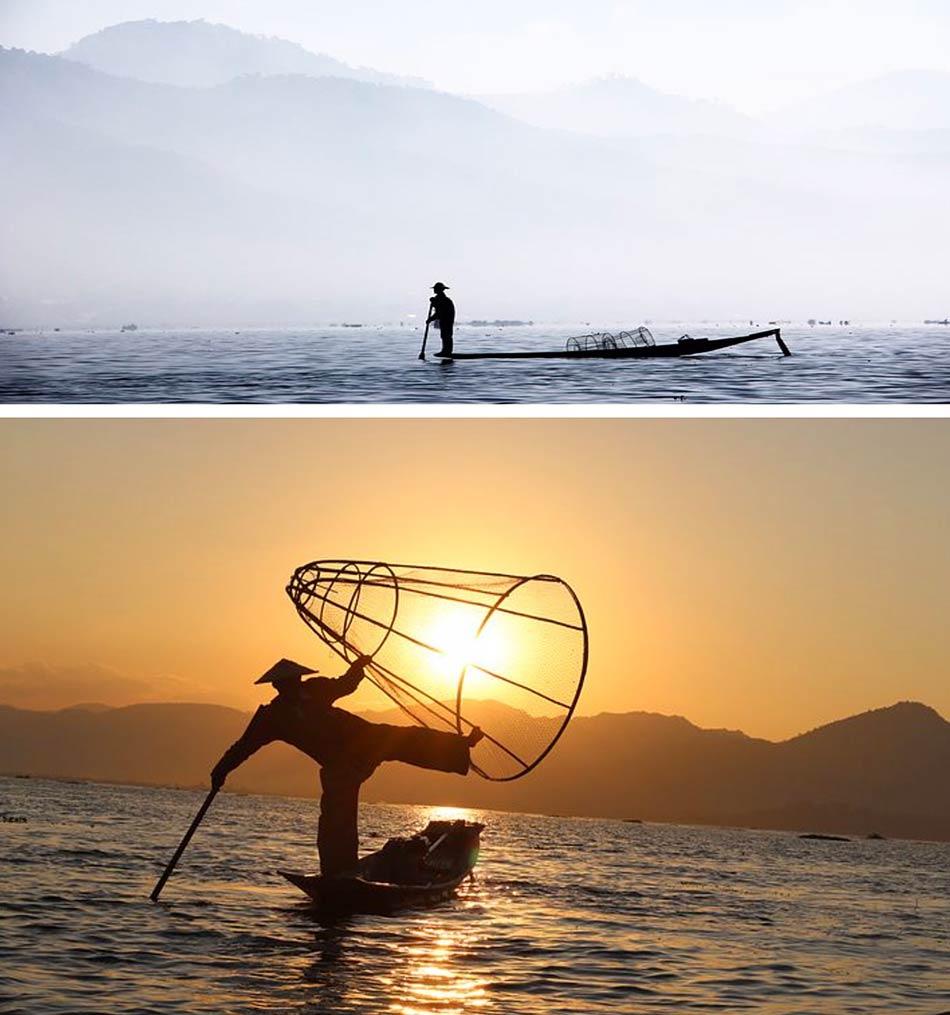 """i """"Figli dell'Acqua"""", i mitici pescatori del Lago Inle, che remano stando in piedi su una gamba sola come i fenicotteri"""