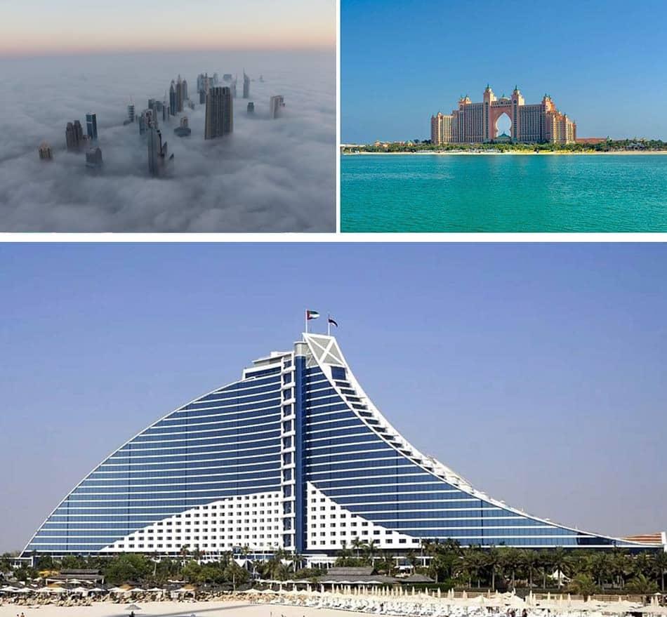 complessi turistici a forma di palma, l'Hotel Atlantis e il Bury Dubai, la Torre del Califfo
