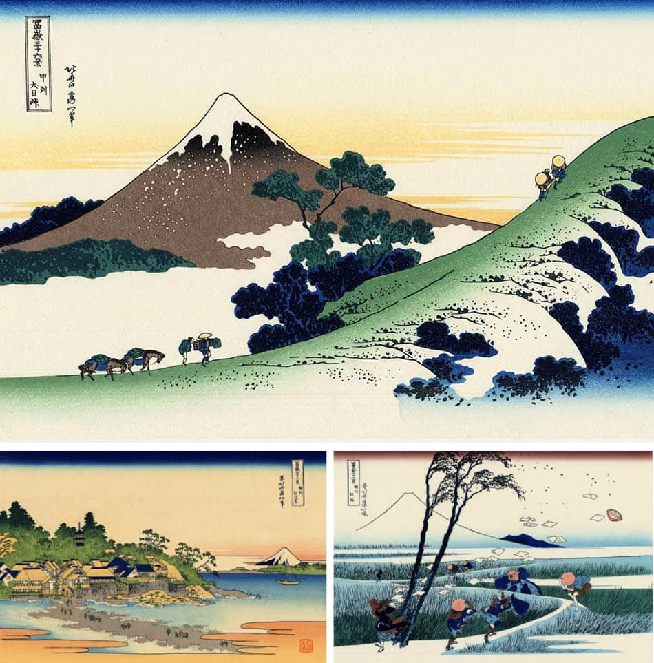 famoso ciclo di xilografie dell'artista Hokusai