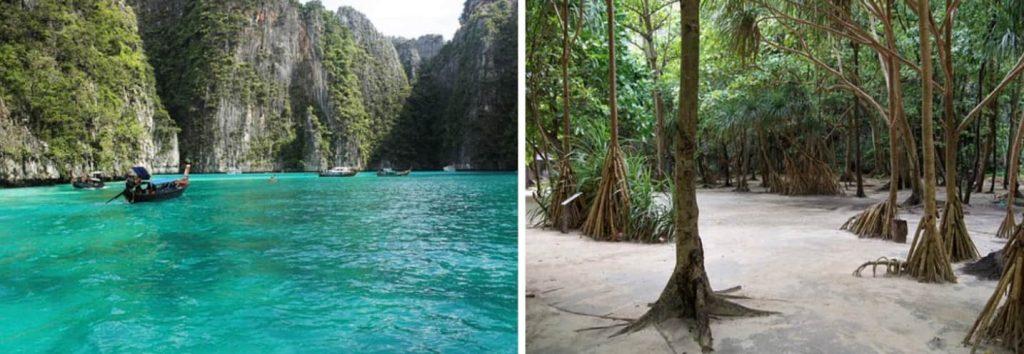 Maya Bay con la sua spiaggia bianca, l'acqua turchese, i panettoni verdi di piccole colline