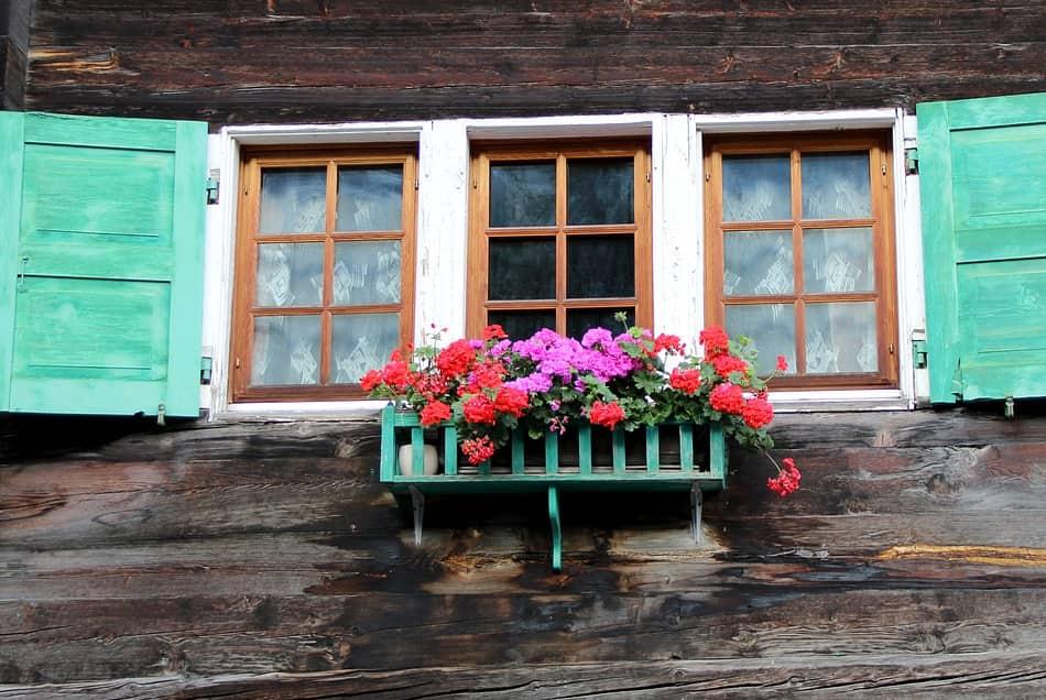 ogni balconcino tanti fiori colorati