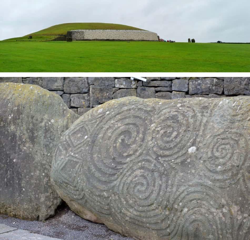 il tumulo neolitico di Newgrange, una specie di osservatorio astronomico in pietra sormontato da una affascinante e gigantesca cupola erbosa