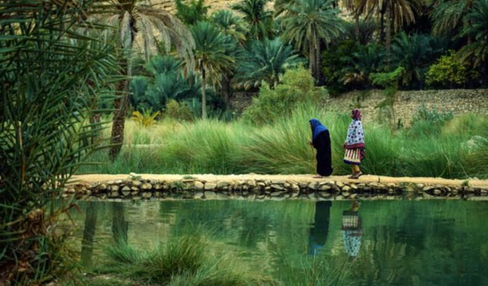 l'Oasi di Wadi Bani Khalid, verde e fresca grazie alla presenza di cascatelle e laghetti