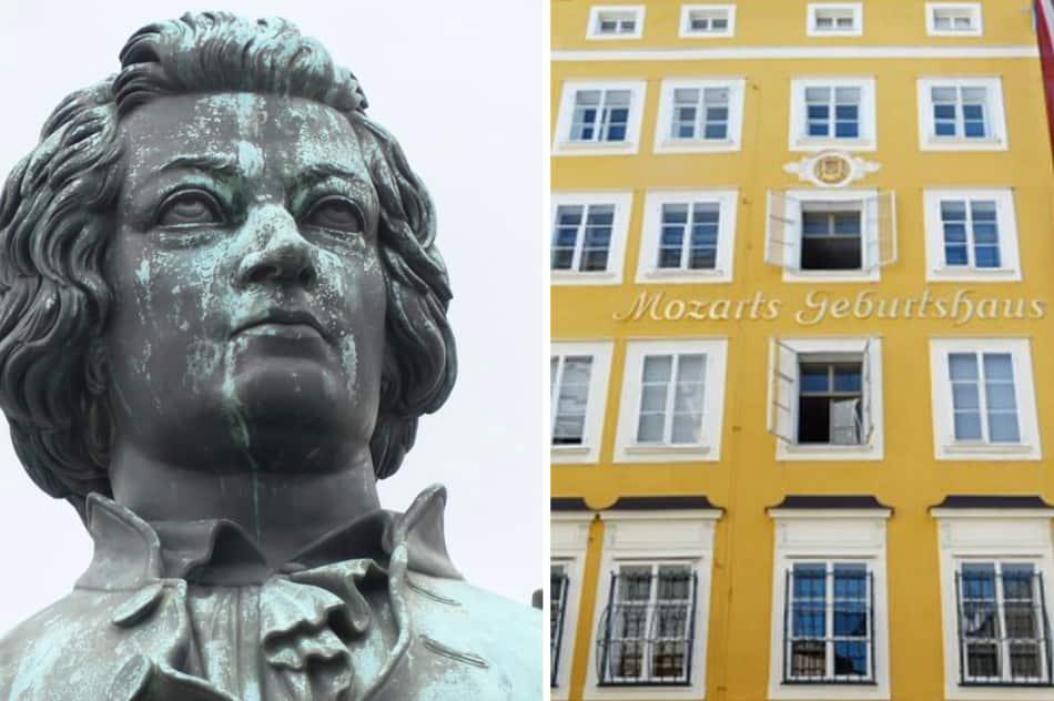 la musica di Mozart che esce allegra o solenne da una chiesa o da un auditorium
